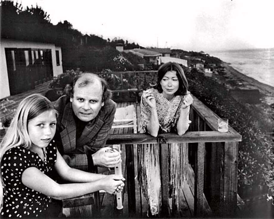 "(l-r) Quintana Roo Dunne, John Gregory Dunne and Joan Didion, Malibu 1976 from ""the year of Magical Thinking"" Photo: Check Publisher"