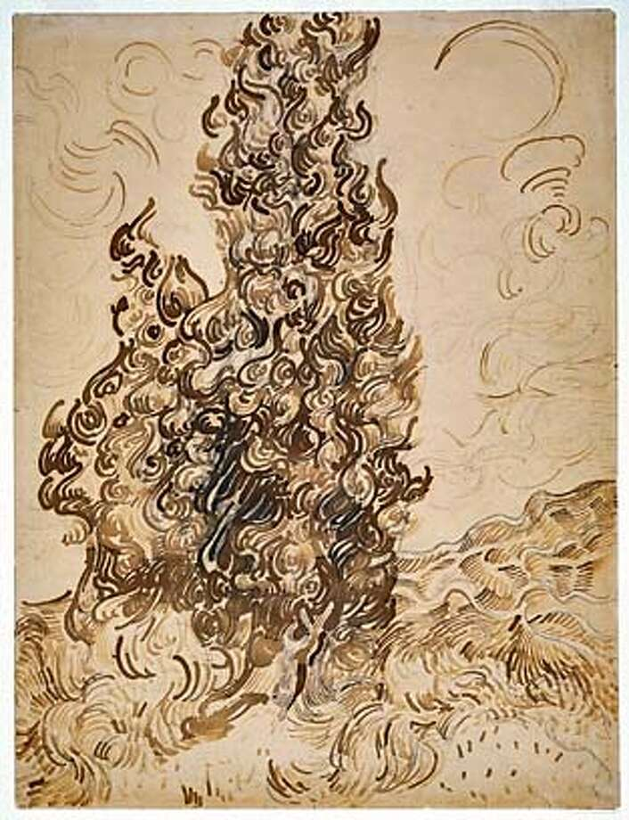 ARTNOTES18 Cypresses  June 20�25, 1889  Reed pen, pen, and ink, with graphite on wove paper 62.2 x 47.1 cm (24-1/2 x 18-1/2 in.)  Brooklyn Museum, New York  Frank L. Babbott Fund and the A. Augustus Healy Fund Photo: Vincent Van Gogh Dutch, 1853-18