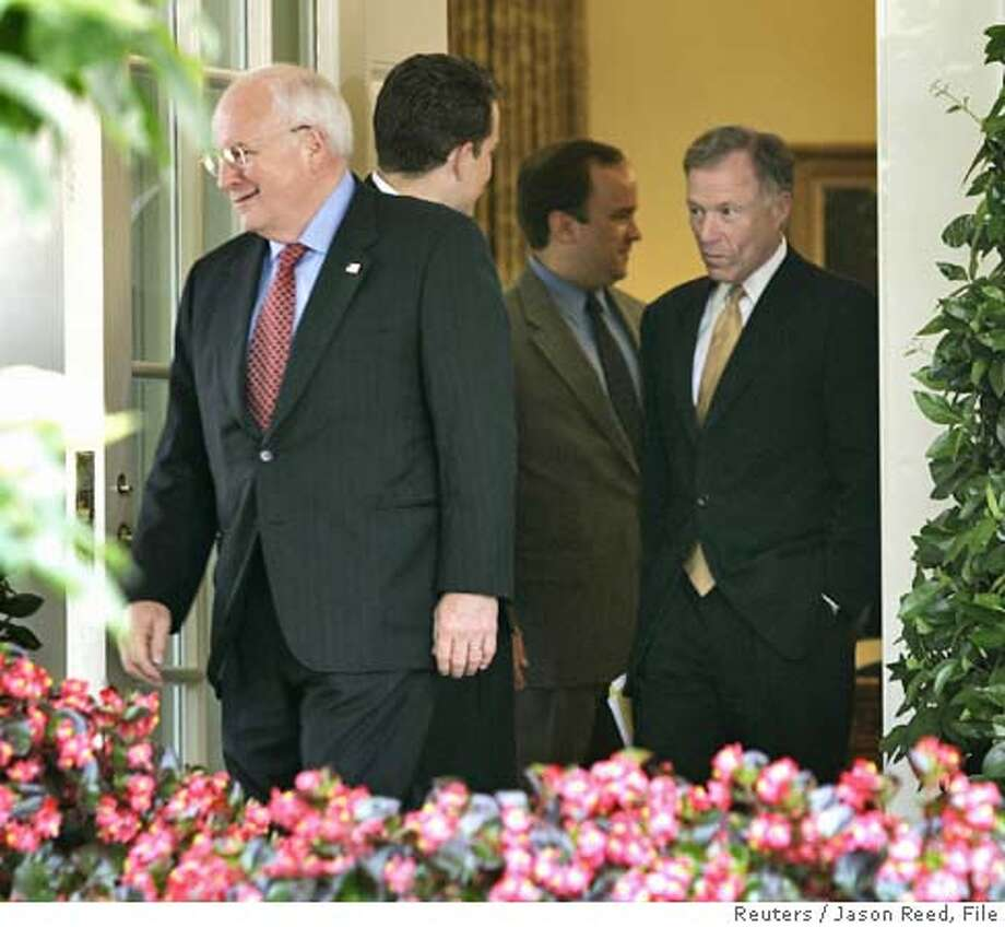 "U.S. Vice President Dick Cheney (L) and his Chief of Staff Lewis ""Scooter"" Libby (R) walk out of the Oval Office of the White House after a meeting in this July 1, 2005, file picture. After being locked up in jail for nearly three months, New York Times reporter Judith Miller was released on Thursday after agreeing to testify before a grand jury investigating who in the Bush administration leaked a covert CIA operative's name. Miller said in a statement issued by the newspaper she was freed after her source -- identified by the Times as Cheney's chief of staff, Lewis Libby -- ""voluntarily and personally released me from my promise of confidentiality regarding our conversations."" REUTERS/Jason Reed Ran on: 10-01-2005  Lewis Libby and other conservatives founded the Project for the New Amer- ican Century in 1997. Ran on: 10-16-2005  Vice President Dick Cheney (left) and Lewis &quo;Scooter&quo; Libby (right) file out of the Oval Office in July. Photo: JASON REED"