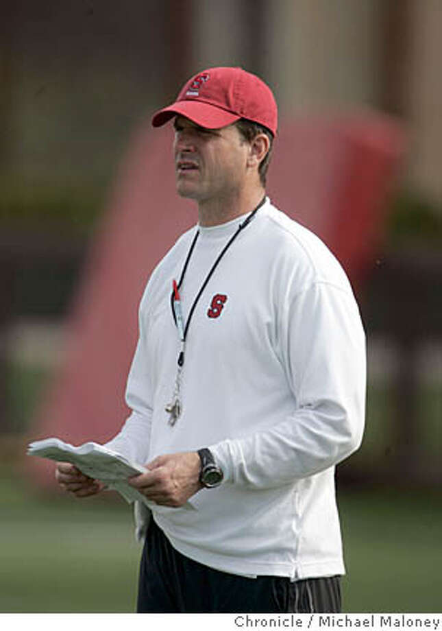 Stanford head coach Jim Harbaugh.  Stanford football holds practice under the direction of their new head coach Jim Harbaugh.  Photo by Michael Maloney / San Francisco Chronicle ***roster : Jim Harbaugh Ran on: 04-19-2007  Jim Harbaugh says he has been seeing thin spots, particularly on the Stanford defensive line. Photo: Michael Maloney