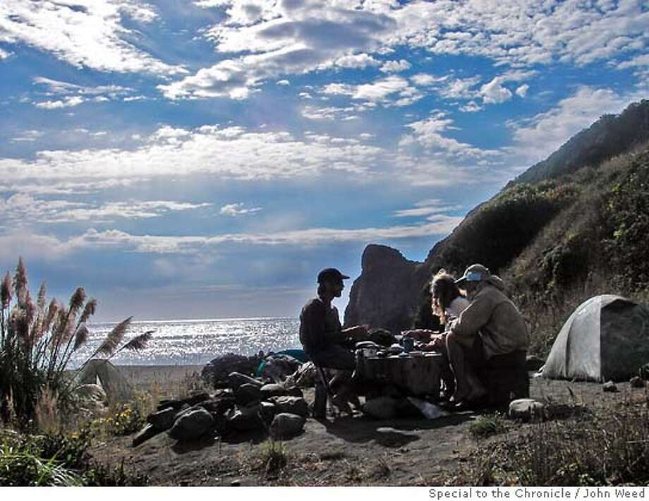 John Weed, Bo Barnes and Paul McHugh at camp near the Sinkyone Wilderness.  Rediscovering California's North Coast. A kayak voyage by Paul McHugh, Bo Barnes and John Weed. A paddle from the Oregon border to the SF bay.  Photo taken on 9/26/05 in Sinkyone Wilderness, CA by John Weed / special for the San Francisco Chronicle Photo: John Weed