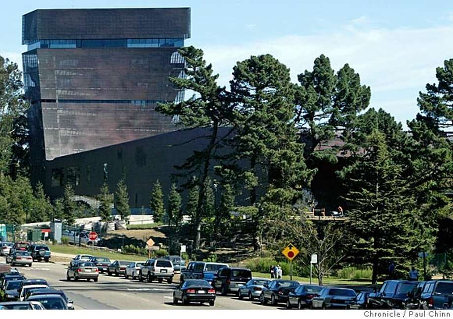 The museum's tower dominates the landscape looking east from John F. Kennedy Drive. Exterior views of the new de Young Museum in Golden Gate Park on 10/5/05 in San Francisco, Calif.  PAUL CHINN/The Chronicle Photo: PAUL CHINN