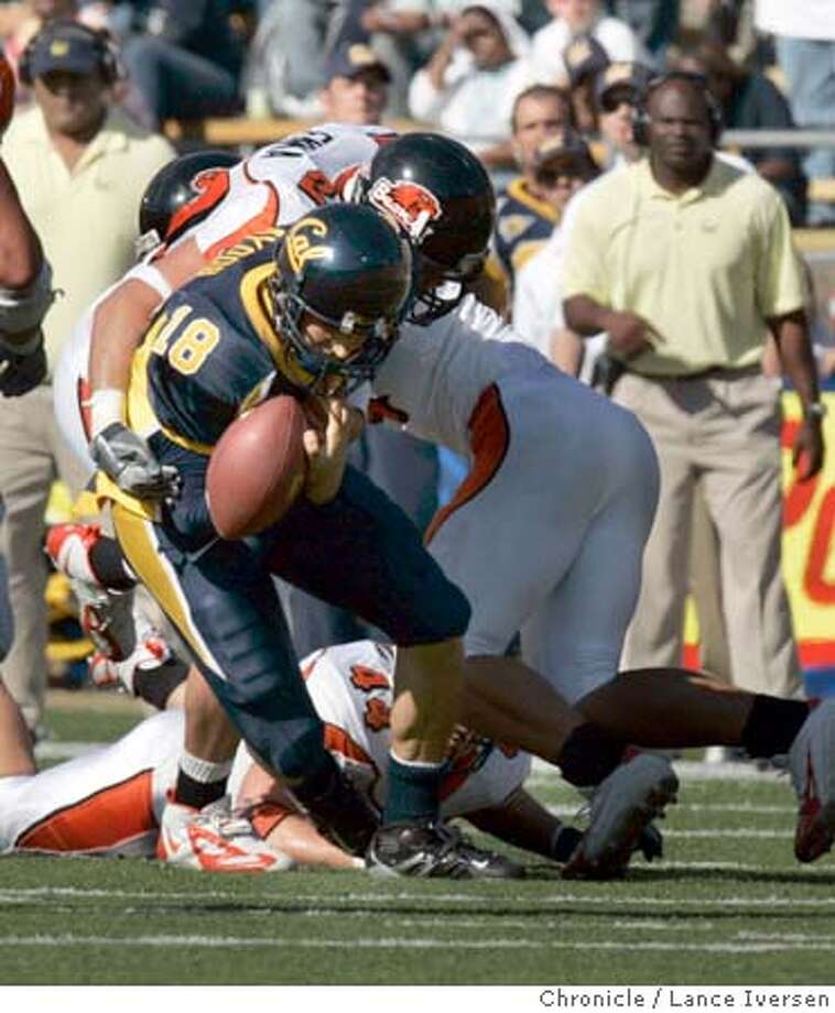CAL_0396.jpg_  2nd Half Action: Cal's QB Joe Ayoob fumbles the ball giving the Beaver's field position. California VS. Oregon State. By Lance Iversen/San Francisco Chronicle Photo: Lance Iversen