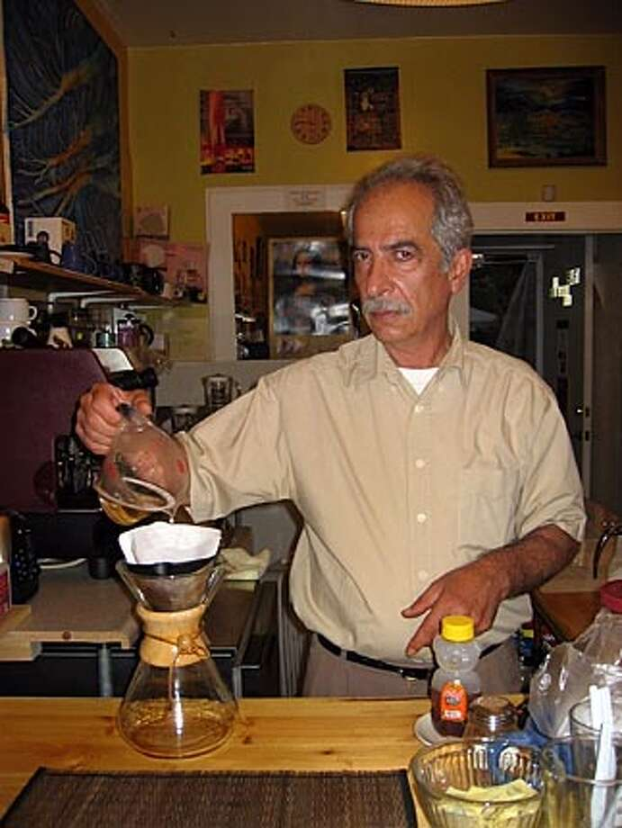 Parviz Rasti drips coffee in a Chemex flask. He is the owner of  the Sufi Coffee Shop in Mountain View. on 10/5/05 in . / HO