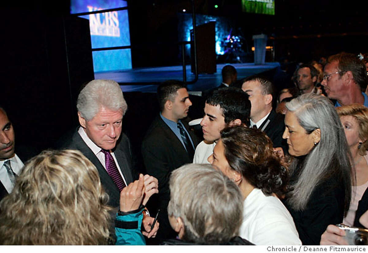 Former President Bill Clinton spent about an hour talking with people, shaking hands and signing autographs after he spoke about health care and the war at KCBS' 3rd Annual Health Fair at Bill Graham Civic Auditorium in San Francisco on 4/14/07. Deanne Fitzmaurice / The Chronicle