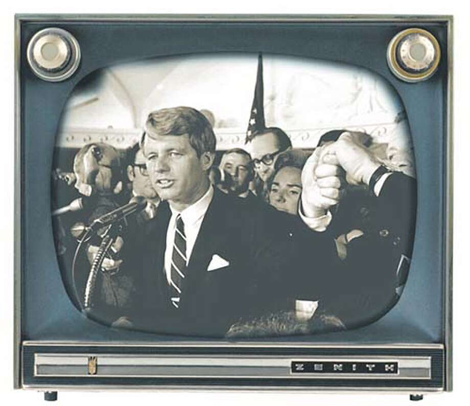 Robert F. Kennedy (April 4, 1968). Chronicle photo illustration by Tracy Cox and Elizabeth Burr