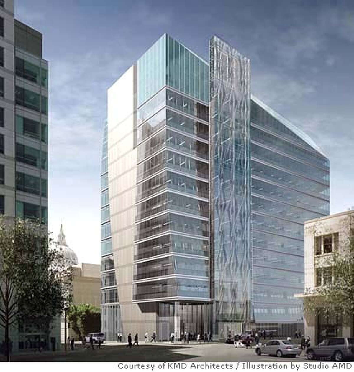 New SFPUC Administration Office Building at 525 Golden Gate Avenue viewed from the northeast corner at the Federal Building Plaza. Credit: Courtesy of KMD Architects, illustration by Studio AMD