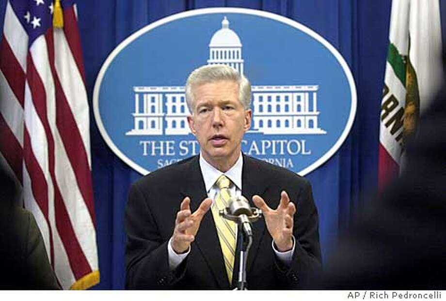 California Gov. Gray Davis speaks about a proposed ballot intiative to stop state and local agencies from collecting race data while meeting with business leaders at the Capitol in Sacramento, Calif., Tuesday, July 15, 2003. (AP Photo/Rich Pedroncelli) Photo: RICH PEDRONCELLI