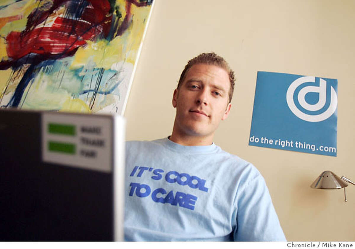 SOCIALWEB_03.jpg Ryan Mickle, founder of dotherightthing.com, a website designed to allow the public to rate companies in terms of social responsibility, poses in his downtown office in San Francisco, CA, on Tuesday, April, 10, 2007. photo taken: 4/10/07 Mike Kane / The Chronicle *Ryan Mickle Ran on: 04-15-2007 James Elsen is CEO of SustainLane.com, a San Francisco business that tries to promote green living to people, businesses and government.