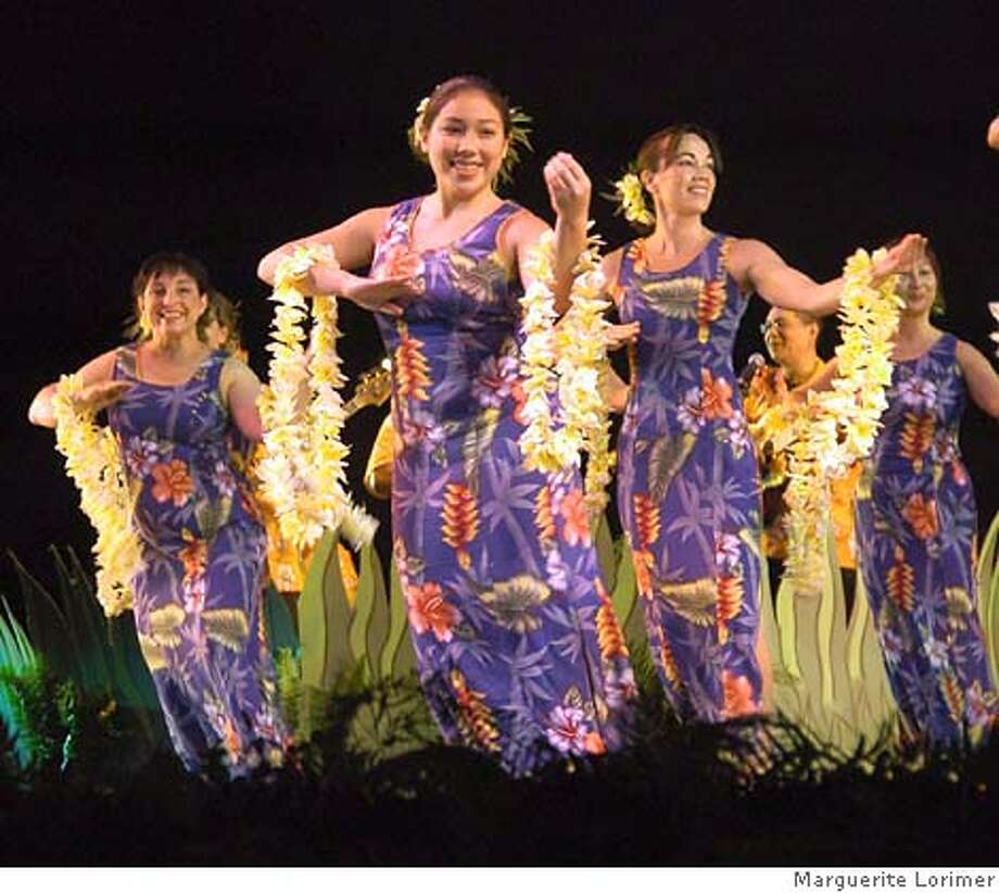 Pictured from (L to R) is Hula On! Productions and Halau Hula Na Pua O Ka La'akea dancers MariAnn Rivers, Felila Ako, Dawnie Kennedy, Aldon Sanders (at the mic) and Kertice Poon.  Credit: Marguerite Lorimer Photo: Marguerite Lorimer