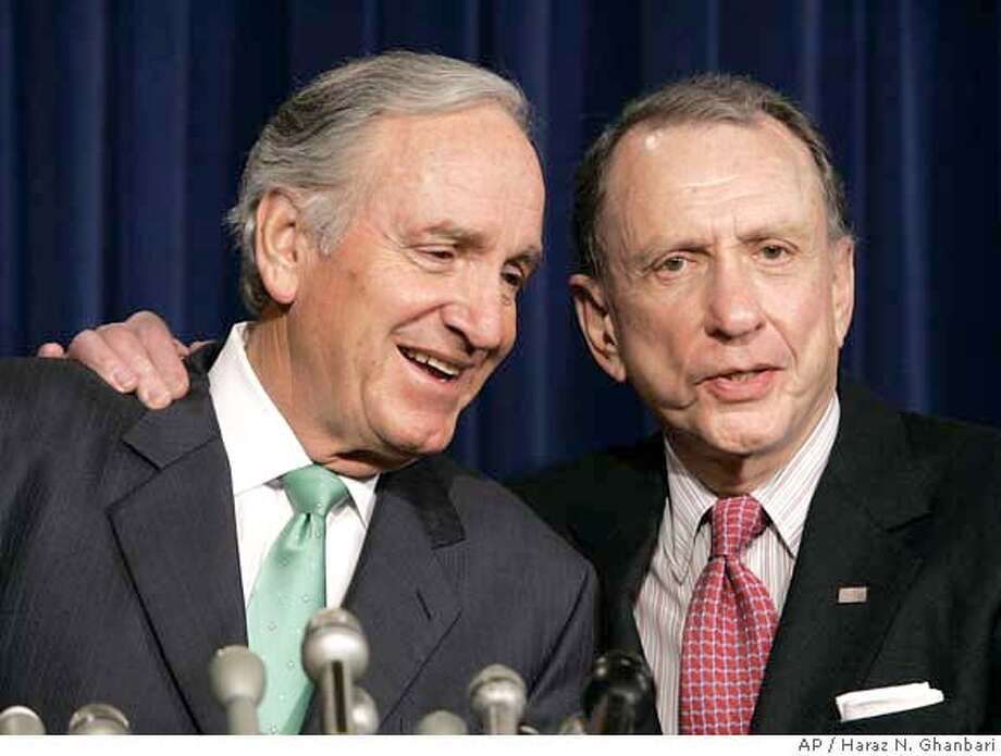 Sen. Tom Harkin, D-Iowa, left, and Sen. Arlen Specter, R-Pa., talk with reporters during a news conference at the Capitol in Washington following a vote on stem cell research, Wednesday, April 11, 2007. (AP Photo/Haraz N. Ghanbari) Photo: Haraz N. Ghanbari