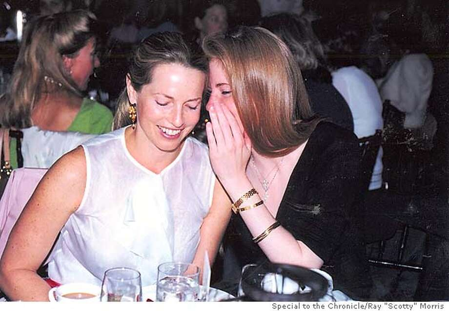 "Laurene Powell Jobs (left) and Laura Arrillaga (right) t the ARCS fashion show fundraiser at the Westin St. Francis on july 8, 2003. Photo credit: Ray ""Scotty"" Morris; Special to the Chronicle"