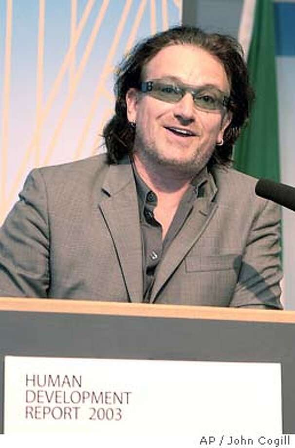 Irish Rock star Bono, speaks at the Global Launch of the UN Human Development Report 2003 at Government Buildings in Dublin, Ireland, on Tuesday, July 8, 2003. (AP photo/ John Cogill) Photo: JOHN COGILL