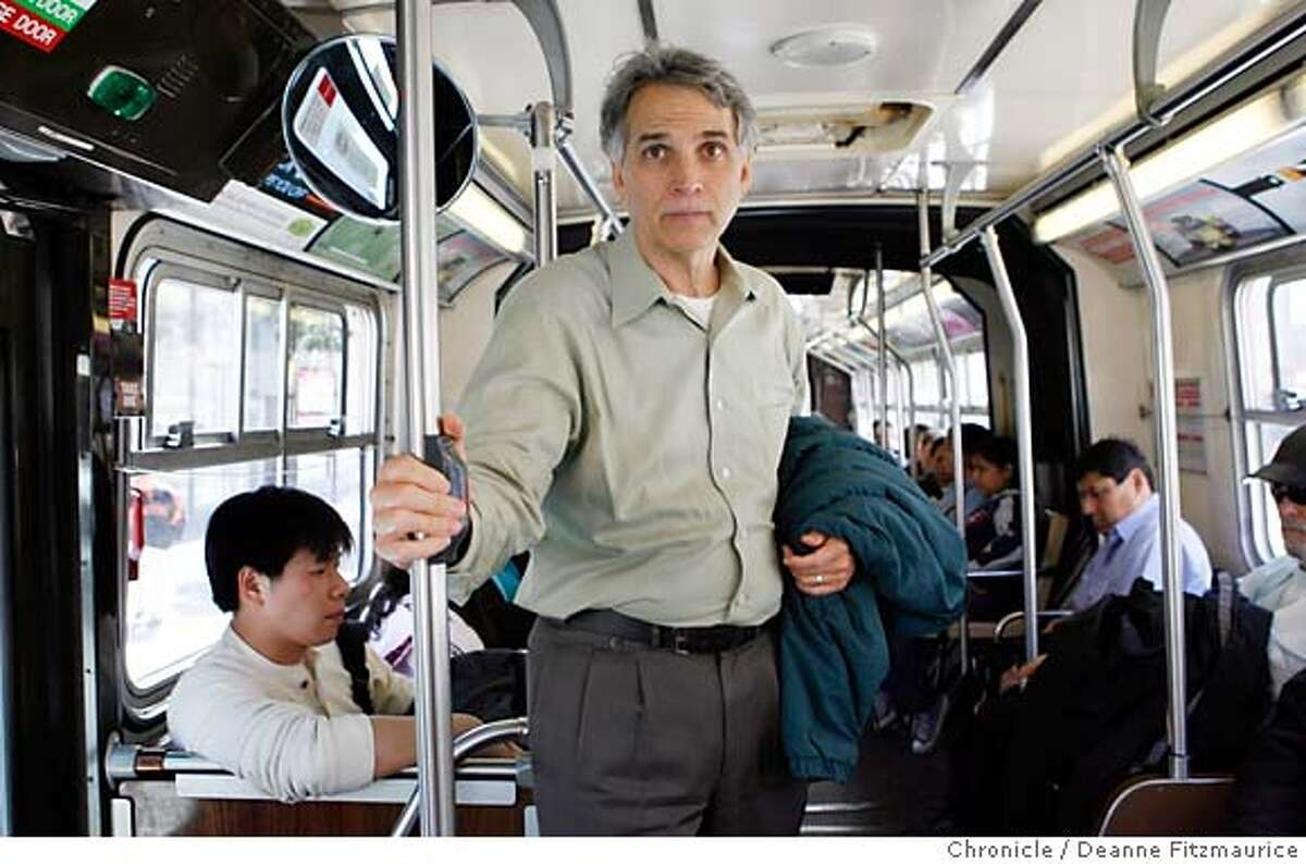 carbon_048_df.jpg Cal Broomhead (cq) rides the Mission 14 muni bus between appointments. He uses public transportation whenever possible. Photographed in San Francisco on 4/13/07. Deanne Fitzmaurice / The Chronicle Cal Broomhead (cq) Mandatory credit for photographer and San Francisco Chronicle. No Sales/Magazines out.