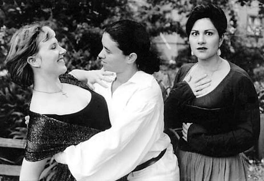 "For , Datebook ; L-R , from Women's Will production of ""The Rover,"" are Kendra Chell as Hellena, Rami Margron as Willmore (the Rover) and Bernadette Quattrone as Angelica ; on 7/3/03 in . / HO"