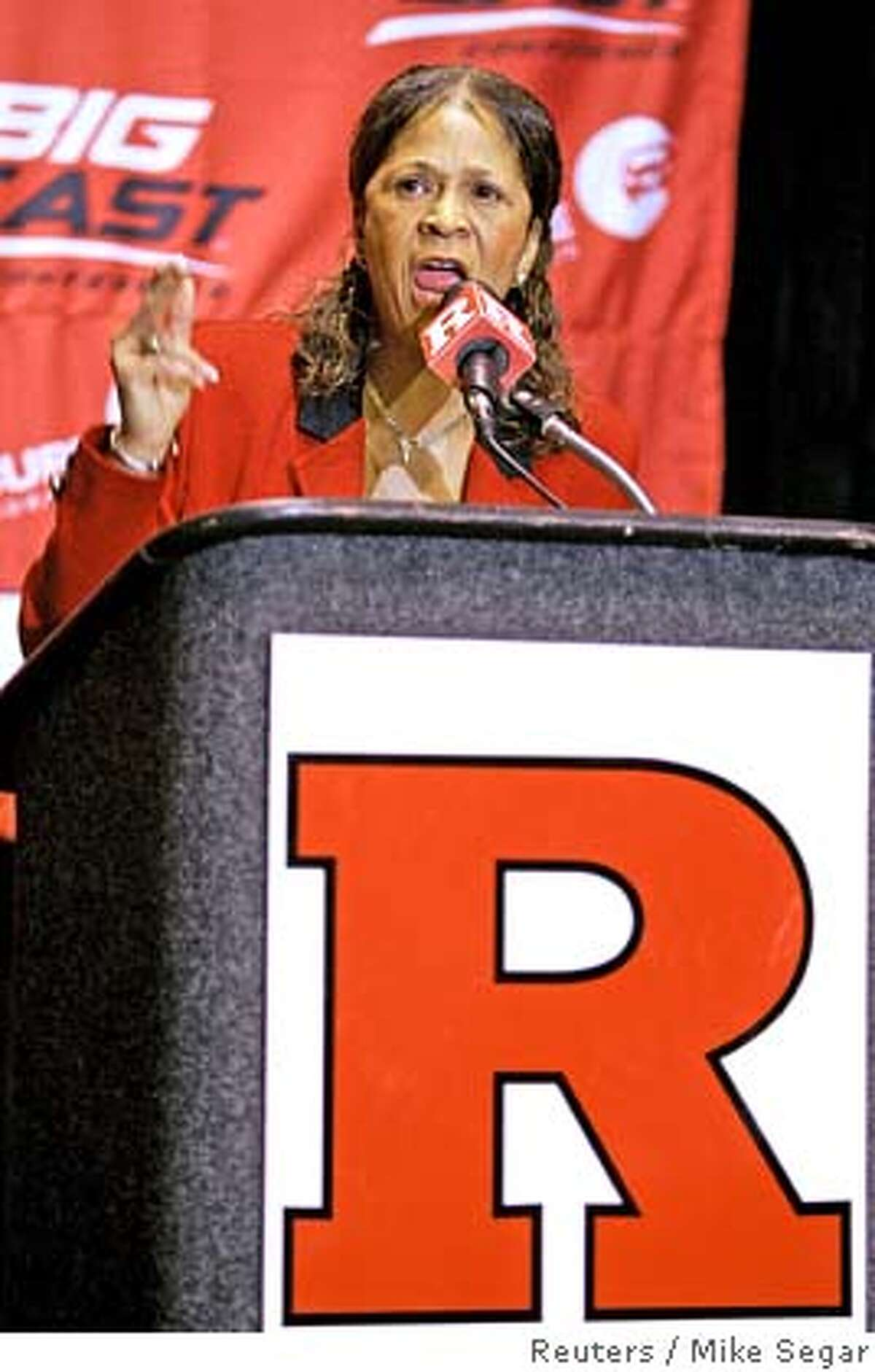 Rutgers University women's basketball team head coach Vivian Stringer speaks at a news conference at the University in New Brunswick, New Jersey, April 10, 2007. The team and school officials held the news conference after U.S. radio personality Don Imus, who has been suspended for two weeks, made racial slurs about the team on his radio and television show last week. REUTERS/Mike Segar (UNITED STATES)