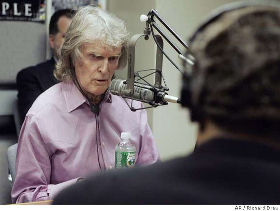 "Radio personality Don Imus, left, and Rev. Al Sharpton appear face-to-face on Rev. Sharpton's radio show, in New York Monday April 9, 2007. Imus issued another apology for referring to the Rutgers women's basketball team as ""nappy-headed hos"" on his morning show last week. (AP Photo/Richard Drew) Photo: RICHARD DREW"