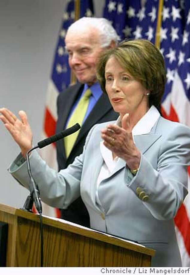Speaker of the House of Representatives Nancy Pelosi and Representative Tom Lantos, D-San Mateo, speak to the media about their recent trip to the Mideast on April 10th, 2007 at the Federal Building in San Francisco.  Liz Mangelsdorf/ The Chronicle Photo: Liz Mangelsdorf