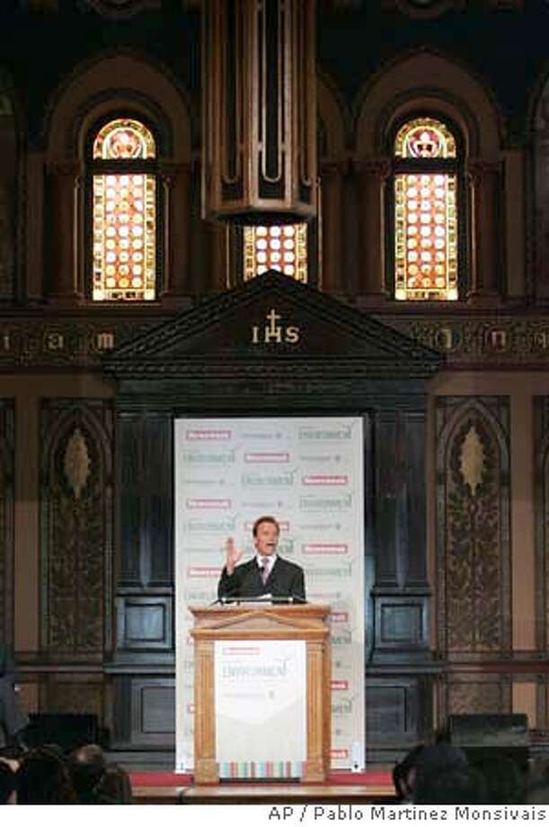 California Gov. Arnold Schwarzenegger delivers the keynote address at the Newsweek Global Environment Leadership Conference at Georgetown University, Wednesday, April 11, 2007, in Washington. (AP Photo/Pablo Martinez Monsivais) Photo: Pablo Martinez Monsivais