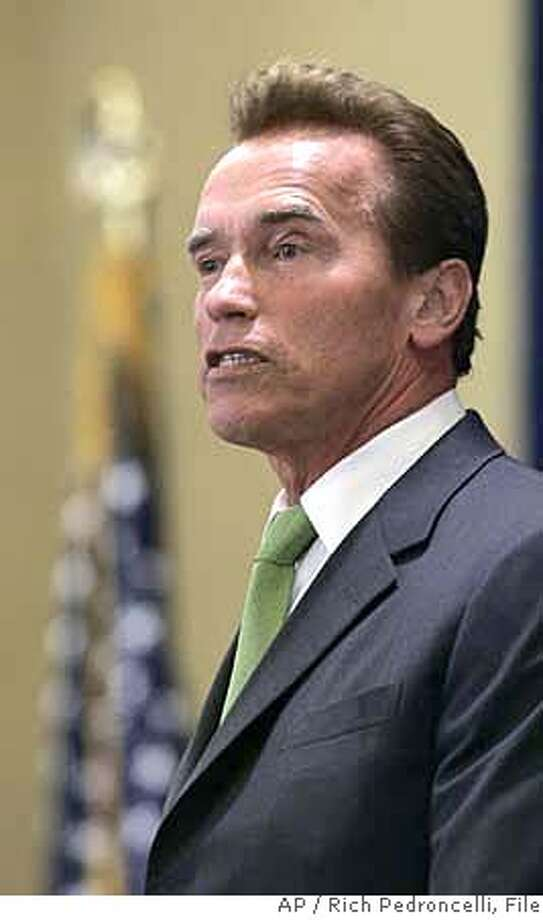 ** FILE ** Gov. Arnold Schwarzenegger called on the press corps to hold the presidential candidates feet to the fire on California issues during an appearance before the Public Policy Institute of California in Sacramento, Calif., Thursday, March 22, 2007. With the presidential campaign in nearly in full swing, the Austrian born Schwarzenegger has become the most famous politician who cannot run for the nations highest office because of a constitutional requirement that presidents be native born. (AP Photo/Rich Pedroncelli) Photo: Rich Pedroncelli