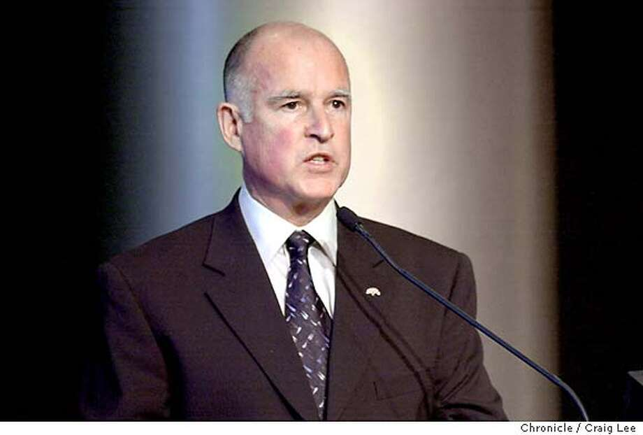 Inauguration of Jerry Brown as Mayor of Oakland in his second term. Photo of Jerry Brown making a speech about goals for 2nd term as mayor.  Photo by Craig Lee/San Francisco Chronicle Photo: CRAIG LEE