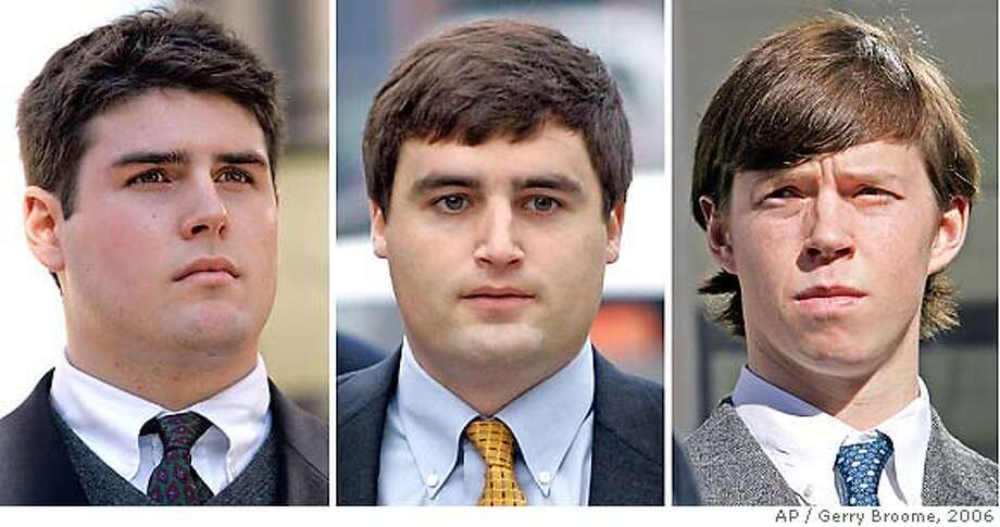 ** FILE ** From left are Duke lacrosse players Reade Seligmann, of Essex Fells, N.J., David Evans, of Bethesda, Md., and Collin Finnerty, of Garden City, N.Y., arriving at court in Durham, N.C., in these Dec. 15, 2006 file photos. The Duke University lacrosse team members could learn as early as Wednesday April 10, 2007 whether state prosecutors will drop the remaining charges accusing them of sexually assaulting a stripper at a team party. (AP Photo/ ) Photo: STF