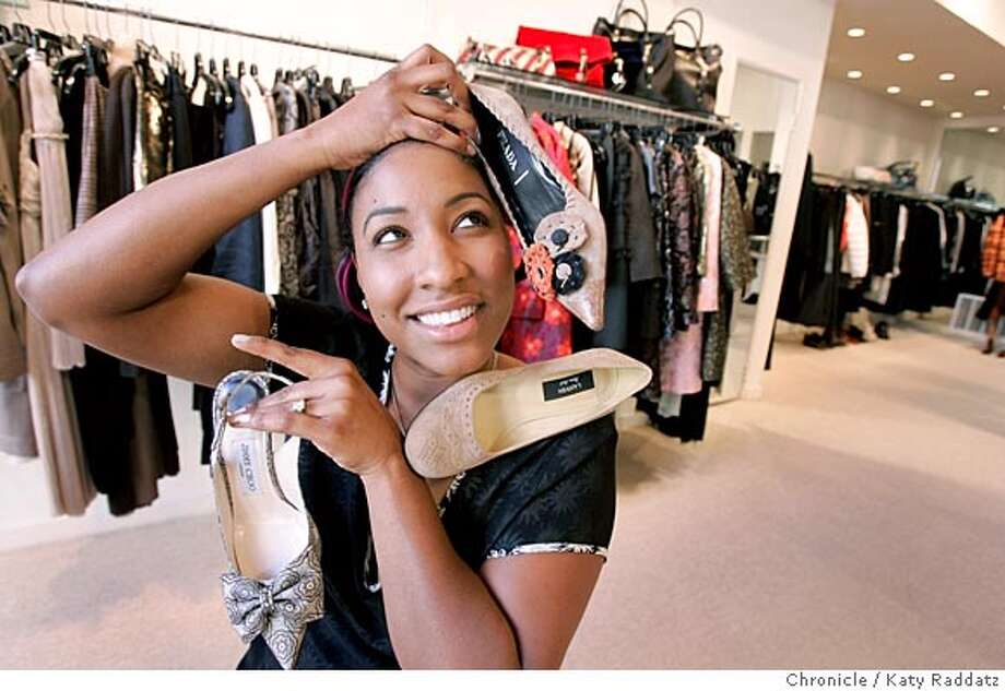 Mireille Schwartz, the editor for Bientot Magazine, is photographed for On The Town at Susan, a designer clothing store in the Presidio Heights neighborhood of San Francisco. The shoe fantasy she is having involves: a Jimmy Choo slingback, Prada pump, and a Lanvin pump. Photo taken on 9/27/05, in San Francisco, CA.  By Katy Raddatz / The San Francisco Chronicle Photo: Katy Raddatz