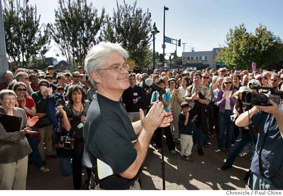 keplers09_050_pc.jpg  Store owner Clark Kepler thanks the crowd of hundreds who gathered to celebrate his bookstore's reopening. Kepler's bookstore reopens on 10/8/05 in Menlo Park, Calif. after local residents and customers raised funds to convince owner Clark Kepler to stay in business. The popular independent bookstore has been in business for 50 years.  PAUL CHINN/The Chronicle MANDATORY CREDIT FOR PHOTOG AND S.F. CHRONICLE/ - MAGS OUT Photo: PAUL CHINN