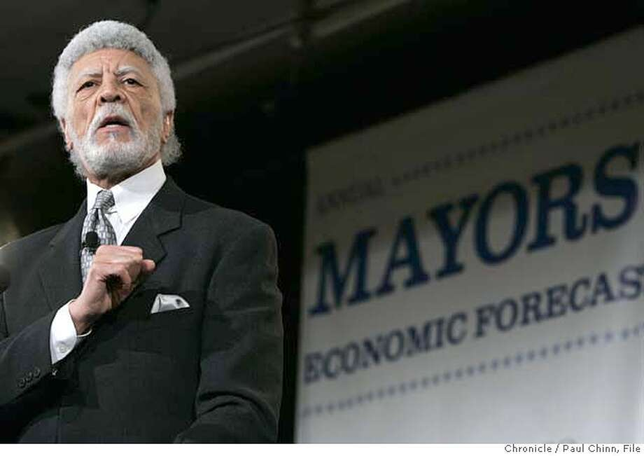 Oakland Mayor Ron Dellums speaks to a group of 1,200 Bay Area business leaders at the annual Mayors Economic Forecast conference in San Francisco, Calif. on Wednesday, Jan. 17, 2007.  PAUL CHINN/The Chronicle  Ran on: 04-10-2007  Ron Dellums has been meeting with local leaders, but apparently seeing little of the public. Photo: PAUL CHINN