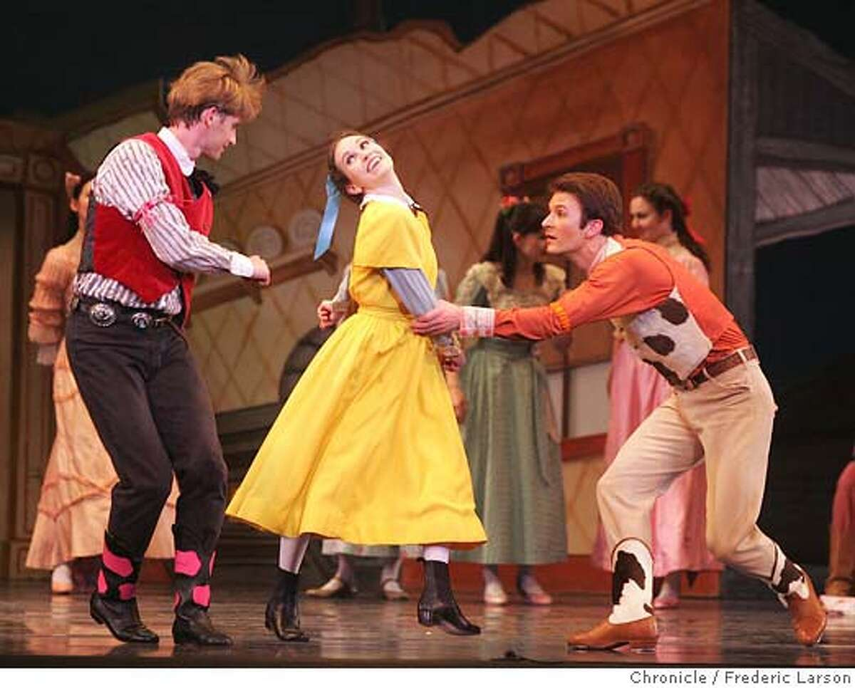 {object name} Tina LeBlance (yellow dress, red shirt) plays the cowgirl as Stephen Legate (red left) is the wrangler and Rory Hohenstein the roper (orange) in the Rodeo. SF Ballet's Program 3, modern dancer Paul Taylor's first work for SF Ballet. Spring Rounds, Magrittomania and Rodeo. 2/16/06 Frederic Larson Ran on: 02-18-2006 Tina LeBlanc (center) plays the Cowgirl with Stephen Legate (left) and Rory Hohenstein in Rodeo.Ran on: 02-18-2006