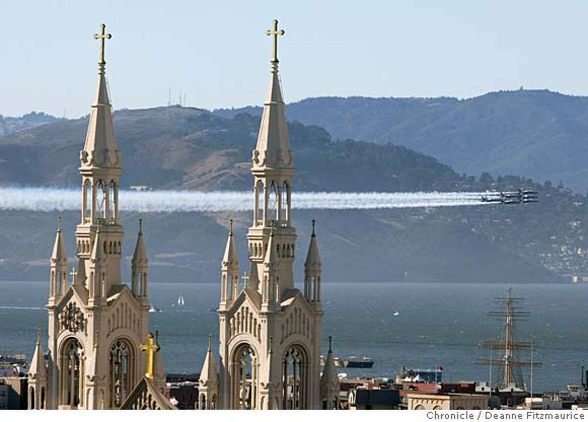 The Blue Angels fly around the Bay Area near landmarks including Coit Tower and the Golden Gate Bridge on a practice run before the shows for Fleet Week. Deanne Fitzmaurice / San Francisco Chronicle