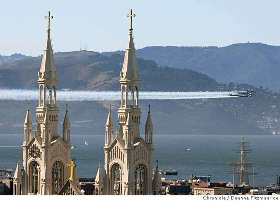 The Blue Angels fly around the Bay Area near landmarks including Coit Tower and the Golden Gate Bridge on a practice run before the shows for Fleet Week.  Deanne Fitzmaurice / San Francisco Chronicle Photo: Deanne Fitzmaurice
