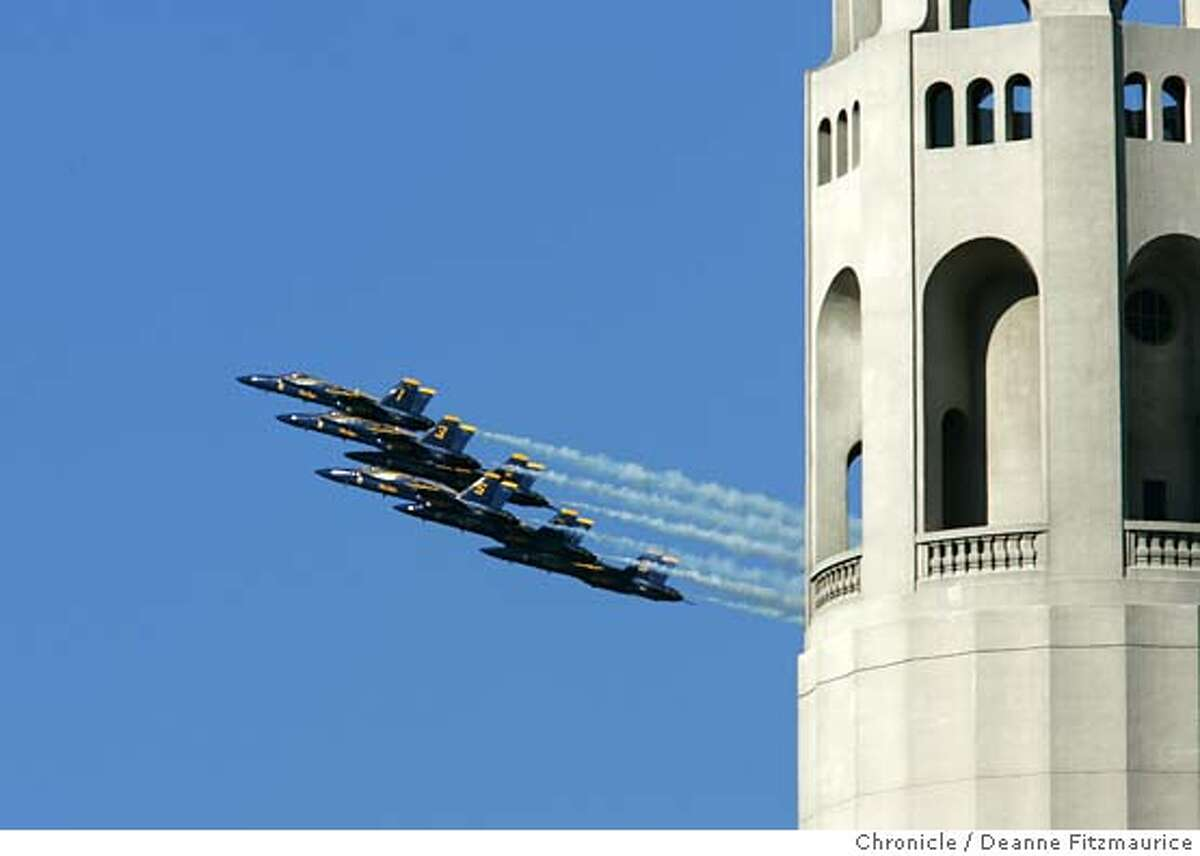 The Blue Angels fly around the Bay Area near landmarks including Coit Tower on a practice run before the shows for Fleet Week. Deanne Fitzmaurice / San Francisco Chronicle