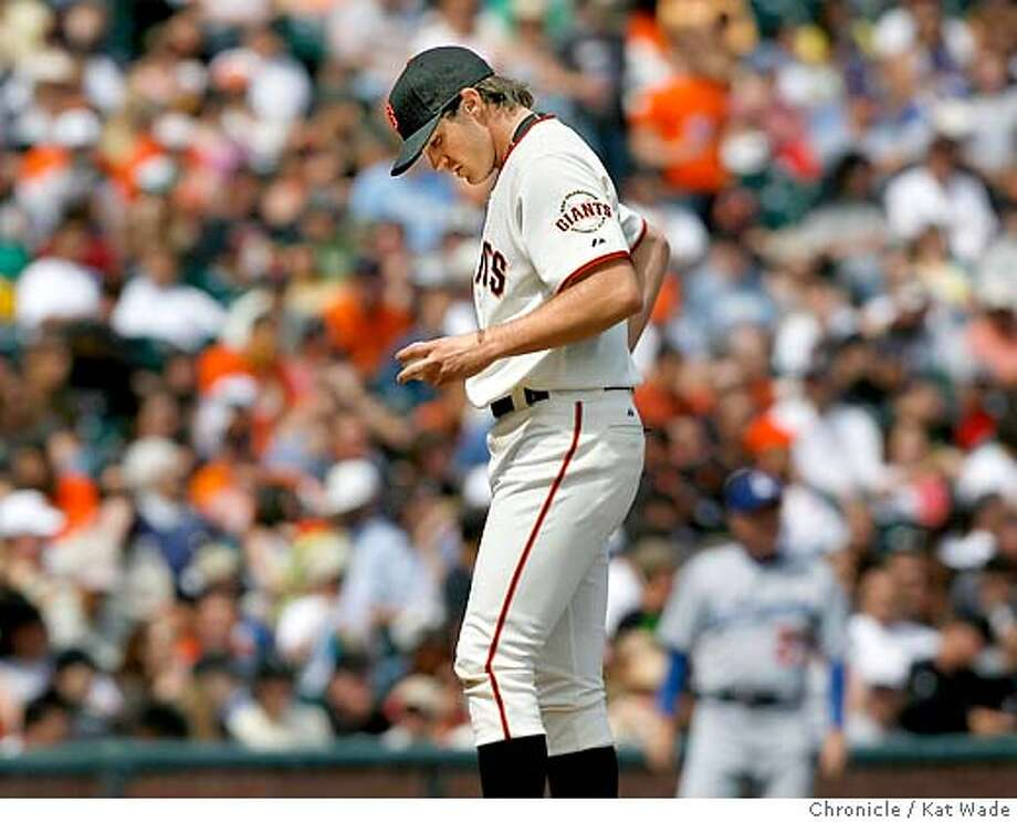 Zito looks down at the ball after giving up his third run of the game in the 6th inning on Easter Sunday April 8, 2007 when the San Francisco Giants Los Angeles Dodgers at AT&T Park in San Francisco.  Kat Wade/The Chronicle Photo: Kat Wade