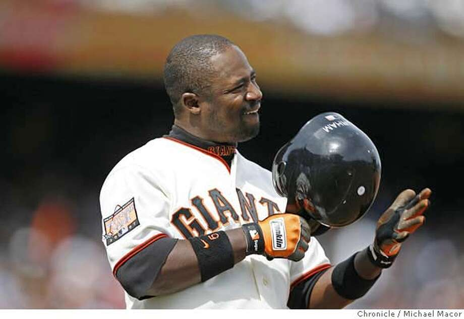 giants_253_mac.jpg Giants Ray Durham pounds his helmet after grounding out in the 6th inning with 1 runner on. San Francisco Giants vs. Los Angeles Dodgers. Game 2 of a 3 game series. Major League Baseball.Photographed in, San Francisco, Ca, on 4/7/07. Photo by: Michael Macor/ The Chronicle Mandatory credit for Photographer and San Francisco Chronicle No sales/ Magazines Out Photo: Michael Macor