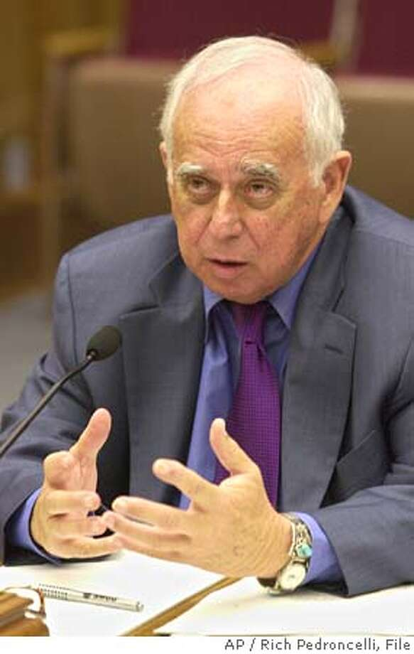 S. David Freeman, chairman of the state's Power Authority, answers questions during a deposition given before the Senate Select Committee to Investigate Price Manipulation of the Wholesale Energy Market, held at the Capitol in Sacramento, Calif. on Thursday, Aug. 1, 2002. Freeman was questioned about his role while at the Los Angeles Department of Water and Power during the 2000-2001 energy crisis.(AP Photo/Rich Pedroncelli) CAT Photo: RICH PEDRONCELLI