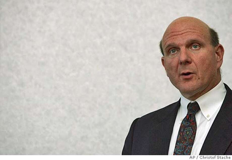 Steve Ballmer, CEO Microsoft Corporation, speaks during his presentation for Microsoft Client Protection, a new security product that protects business desktops, laptops and file servers from emerging threats such as spyware and rootkits, as well as viruses and other traditional attacks, in Munich, southern Germany, on Thursday, Oct. 6, 2005. (AP Photo/Christof Stache) Photo: CHRISTOF STACHE