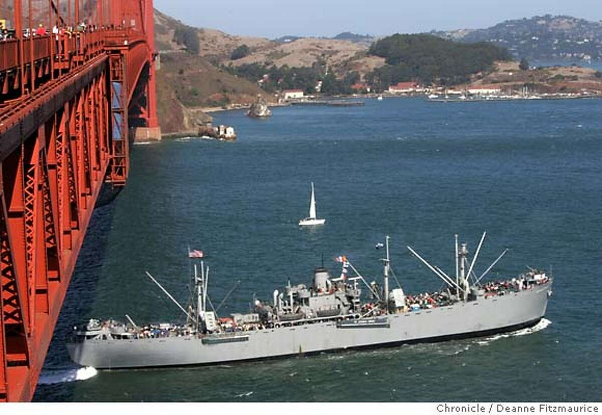 The SS Jeremiah O'Brien comes into the SF Bay under the Golden Gate Bridge. Deanne Fitzmaurice / San Francisco Chronicle