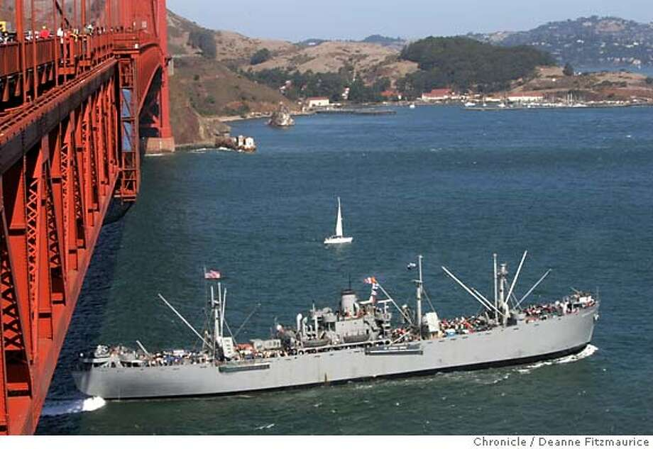 The SS Jeremiah O'Brien comes into the SF Bay under the Golden Gate Bridge.  Deanne Fitzmaurice / San Francisco Chronicle Photo: Deanne Fitzmaurice