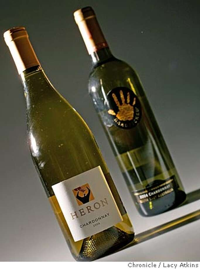 We need a bottle shot for the weekly Bargain Wines column. The 2 bottles for the shot -- Heron Chardonnay and Handpicked Chardonnay -- will be on Amanda Gold's desk. (For what it's worth, we liked the Heron better.)  Photographer: Atkins, Lacy  Sept. 29, 2005. Photographer Lacy Atkins Photo: Lacy Atkins