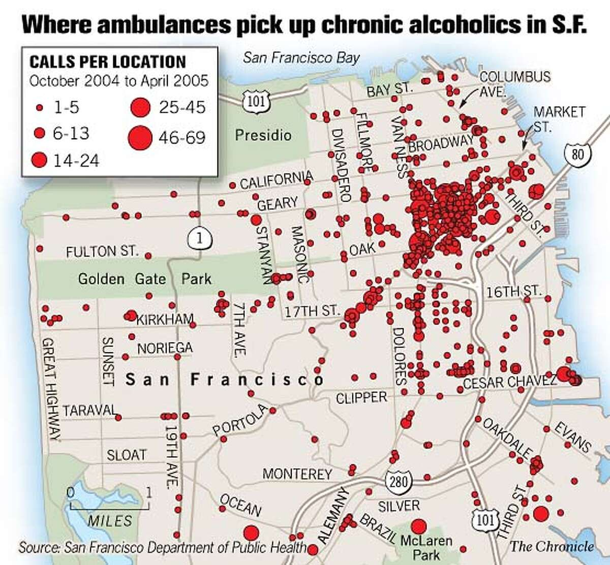 Where Ambulances Pick Up Chronic Alcoholics in S.F. Chronicle Graphic