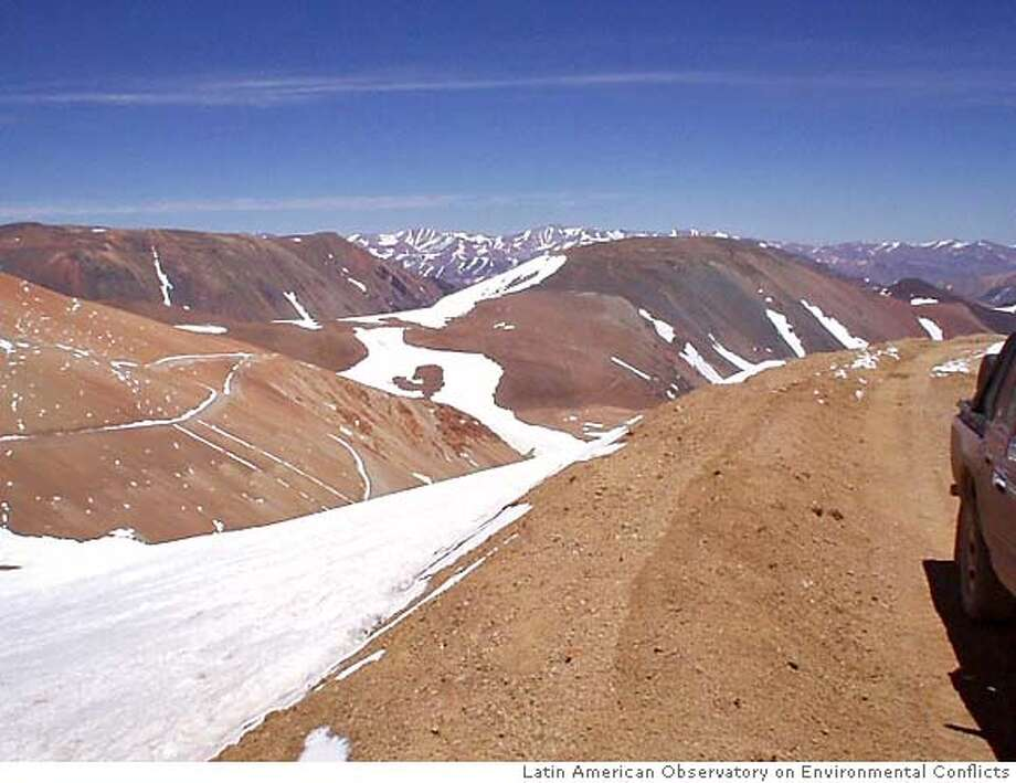 Glacial area where Barrick Gold Corp. wants to mine for gold. Courtesy of the Latin American Observatory on Environmental Conflicts in Santiago, Chile. Photo: Latin American Observatory On En