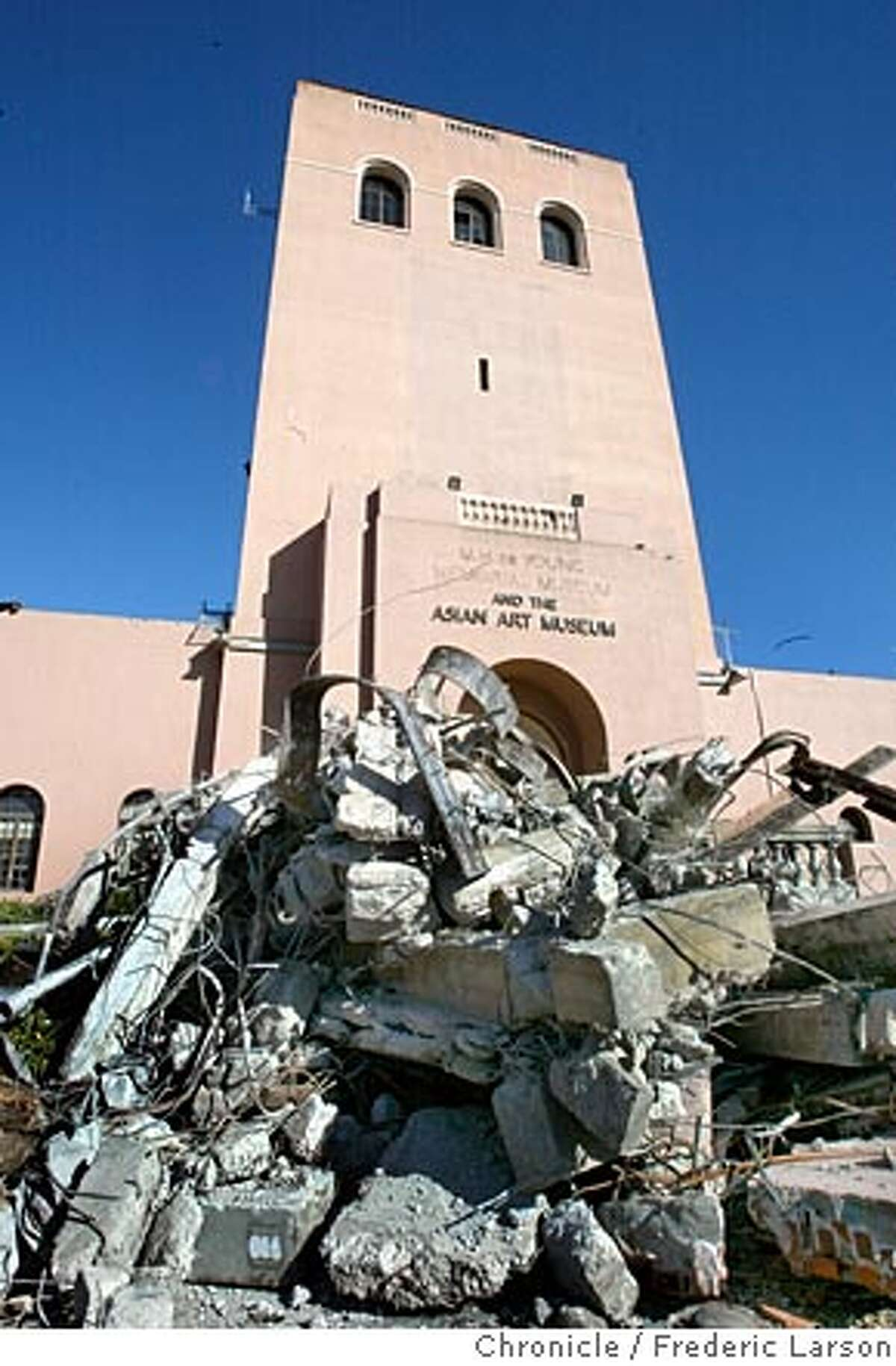 DEYOUNG-C-15APR02-MT-FRL: Partially demolished De Young museum in Golden Gate Park. Chronicle photo by Frederic Larson