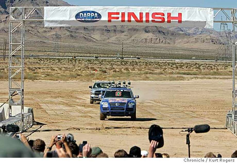 The DARPA Grand Challenge 2005 First to finish was Stanley the entry by the Stanford Racing team . Darpa -- the defense department research agency that sponsored the early Internet. The contestants are college teams, hobbysists and dreamers who want to build robotic cars. 10/8/05 in PRIMM,NV.  KURT ROGERS/THE CHRONICLE Photo: KURT ROGERS