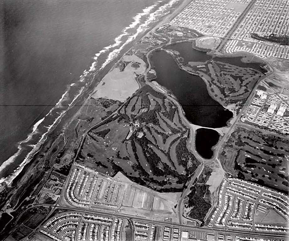 Rge 18th hole of the new Harding Park course; above, its namesake, President Warren G. Harding; right, tournament shots from 1949 and 1982. Photo: Barney Peterson