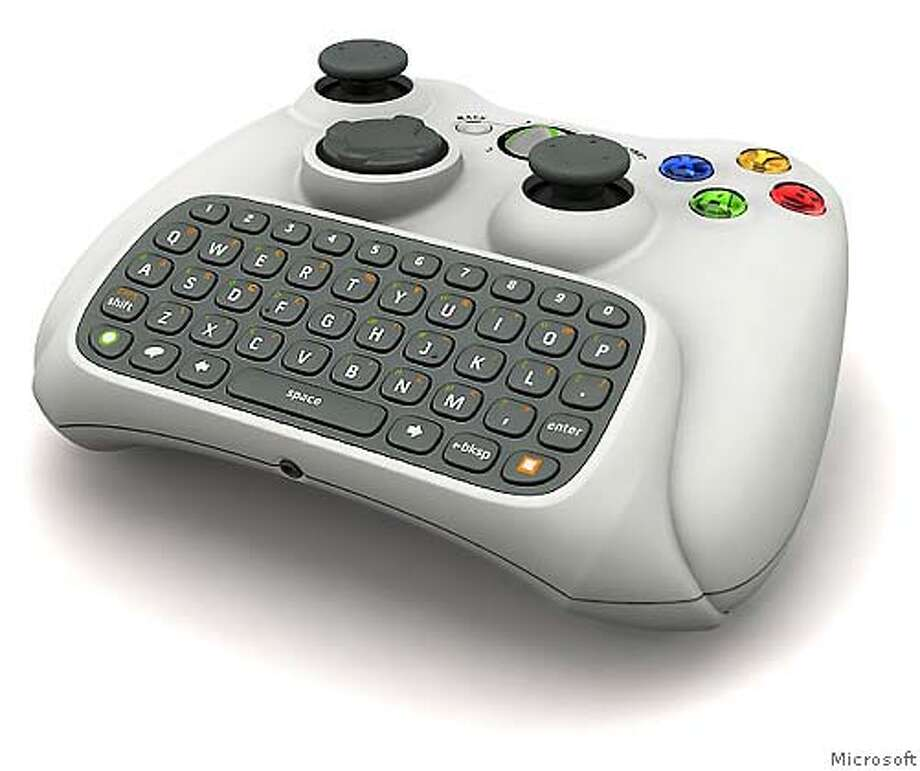 � Microsoft is releasing a new text input device that will connect to Xbox 360 controllers, allowing gamers to instant message with other Windows Live and Xbox Live users. Photo: Microsoft