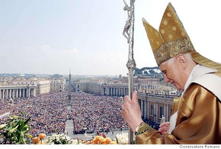 "Pope Benedict XVI delivers the Easter 'Urbi et Orbi' (to the city and the world) benediction in Saint Peter's Square at the Vatican April 8, 2007. Pope Benedict, in his Easter message, made an impassioned call for world peace on Sunday that lamented the ""continual slaughter"" in Iraq and the growing unrest in Afghanistan. REUTERS/Osservatore Romano (VATICAN)  Ran on: 04-09-2007  Pope Benedict XVI delivers his Easter message to pilgrims at Saint Peter's Square at the Vatican. Photo: OSSERVATORE ROMANO"