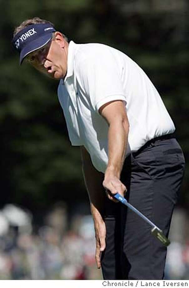 AMEXGOLF0477.jpg_  Scotland's Colin Montgomerie reacts to a missed birdie put on 10th hole. Opening round of the American Express Championship got underway at San Francisco's Harding Park Thursday. Montgomerie was 5 under par at this point later he dropped to 6 under. By Lance Iversen/San Francisco Chronicle Photo: Lance Iversen
