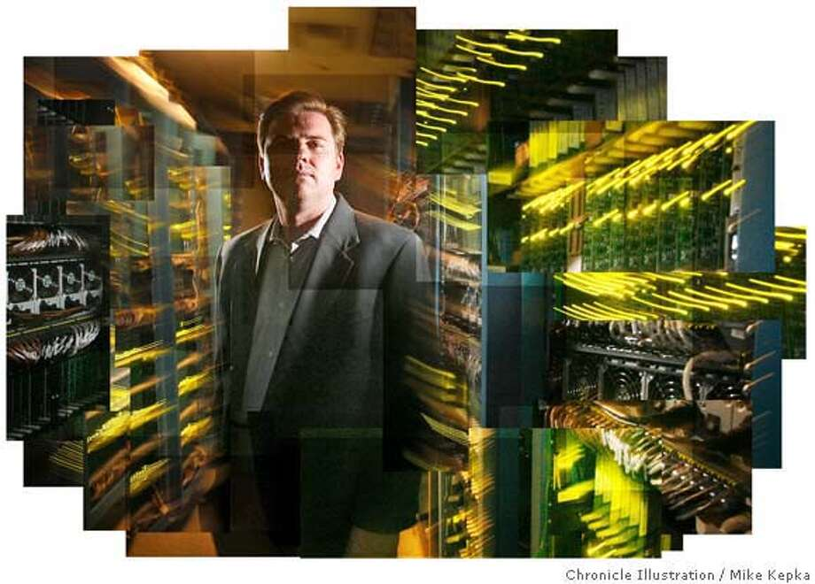 Tony Bates, Senior Vice President/ General Manager of the Service Routing Technology Group at Cisco Systems, Inc. stands in a room filled with 1,000s of Scientific Atlanta routers at Cisco in San Jose. Cisco is hailed this year for a smart list of acquisitions namely Scientific Atlanta and Linksys.  Chron 200 portraits 3/30/07.  MIKE KEPKA / The Chronicle Tony Bates (cq) their PR man Photo: MIKE KEPKA