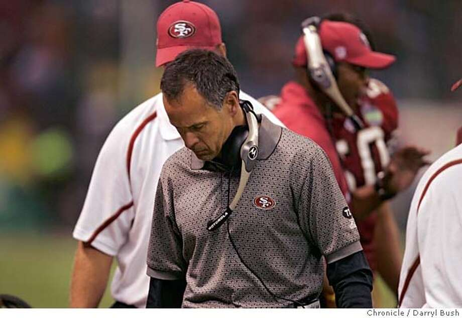 49ersMX_028_db.jpg  San Francisco 49ers head coach is upset with officials after a turnover in the 2nd qtr. vs. Arizona Cardinals at Azteca Stadium.  Event on 10/2/05 in Mexico City.  Darryl Bush / The Chronicle MANDATORY CREDIT FOR PHOTOG AND SF CHRONICLE/ -MAGS OUT Photo: Darryl Bush